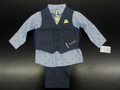 Infant Boys Nautica $50 4pc Dark Blue Vest Suit Size 12 Months - 24 Months