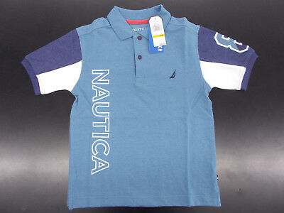 Boys Nautica $36.50 Med Blue & Navy Polo Shirt Size 8 - 18/20