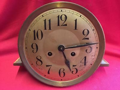 Vintage Clock Face, Hands & Brass Movement 19372 For Spares Or Repair