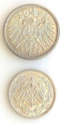 1914A & 1915G Germany 1/2 Mark and 1 Mark Silver Coins km17 and KM14 Nice Unc's