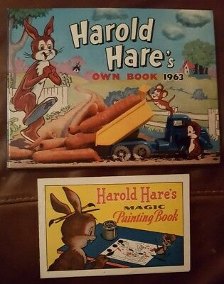 Vintage Harold Hare's Own Book 1963 & Harold Hare's Magic Painting Book