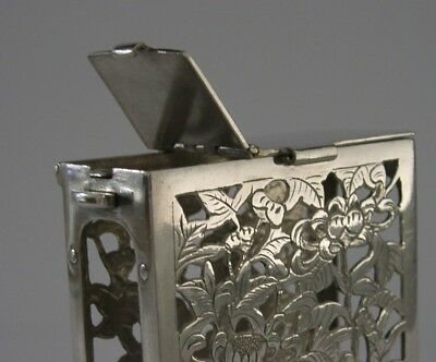 RARE CHINESE EXPORT SILVER CHRYSANTHEMUM CIGARETTE CASE c1920 UNUSUAL OPENING