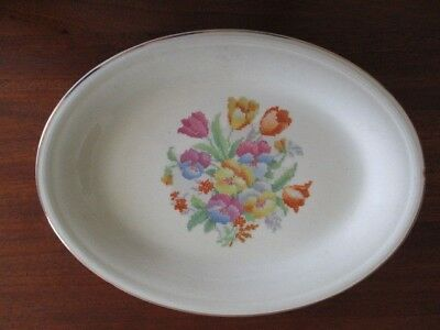 VINTAGE EDWIN M. KNOWLES CHINA CO. CROSS STITCH FLORAL SERVING DISH ...