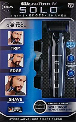 Micro Touch Solo Rechargeable Trimming Edges Razor Shaver Built in LED Light