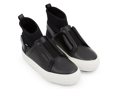 1c53a269a3154 Pierre Hardy women s high top trainers black leather and elasticized fabric