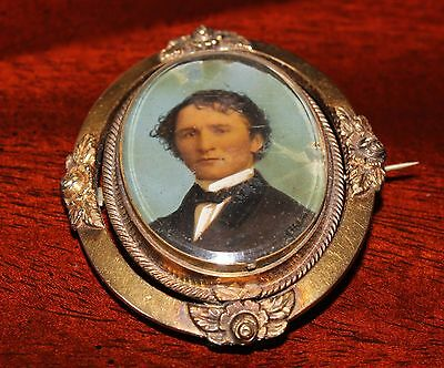Antique Victorian Gold Memorial Hair Mourning Brooch Painting PORTRAIT Civil War