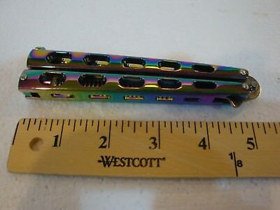 Quality Rainbow BALISONG METAL BUTTERFLY COMB -(Trainer Comb Brush Knife BLADE)