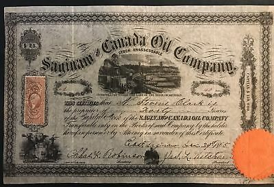 1865 Saginaw Canada Oil Company Stock Certificate w/ stamp