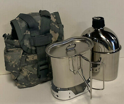 G.I.Style 1 qt.Stainless Steel Canteen/Cup / Vented Lid and New (ALUMINUM) Stove