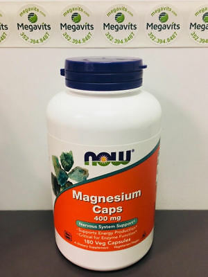 NOW Foods Magnesium 400mg 180 Caps. From Magnesium Oxide, Citrate, & Aspartate