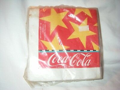 Rare Coca Cola Coke 24 Beverage Napkins 1988 Patriotic Design Sealed