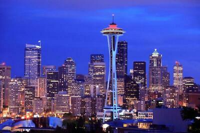 SEATTLE CITY NIGHT SKYLINE SPACE NEEDLE GLOSSY POSTER PICTURE PHOTO BANNER 4031