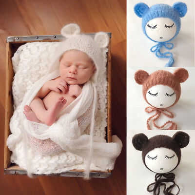 Newborn  Baby Mohair knitting Bonnet Hat Photo Photography Prop Cap Outfits