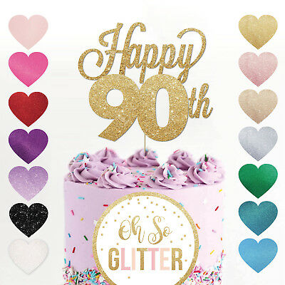 Happy 90th Birthday Cake Topper Ninety Mum Dad Sister Brother Glitter