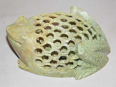 Genuine Hand Carved Marble Frog Toad With Baby Inside Figure Paperweight