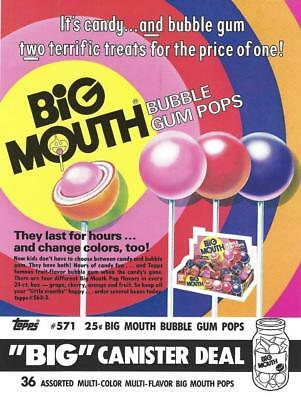 "Selling sheet BIG MOUTH BUBBLE GUM POPS ""BIG"" Canister Deal #571"