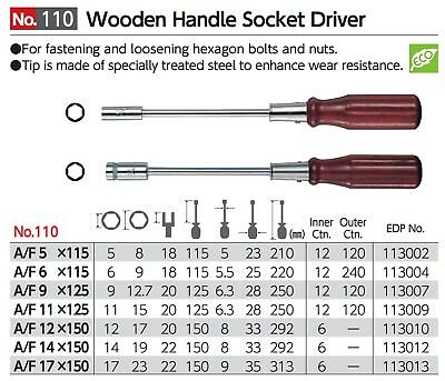 VESSEL Wooden Handle Socket Driver Wood grip A/F5 - 17 115 - 150 mm No.110