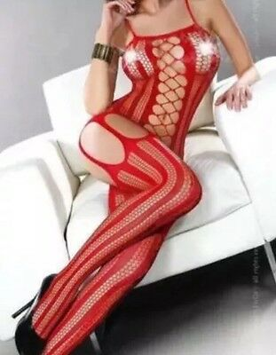 A03 Fishnet Red Body Stocking One Size Fits Most