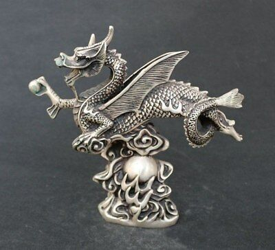 China Folk Classical fly Dragon on Fireball Tibet Silver Copper Statues