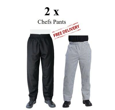 2 x Unisex Chefs Pants Trousers Black Checked Men Women - Whites Vegas