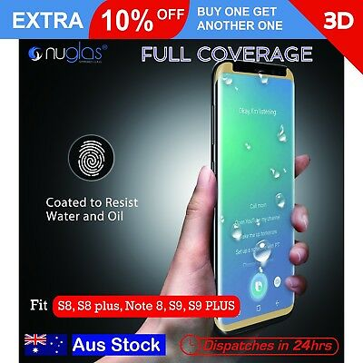 NUGLAS Tempered Glass Screen Protector 3D Full Cover Galaxy S8 S9 Plus Note 8