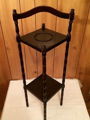 """Antique Wood Ashtray Plant Stand 30.5"""" Vintage Tall Spindle"""
