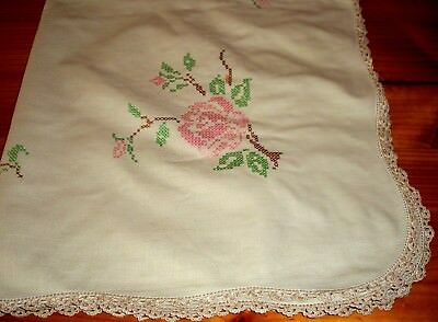 Vintage Linen Tablecloth Hand Embroidered Cross Stitch Roses Lace Edge
