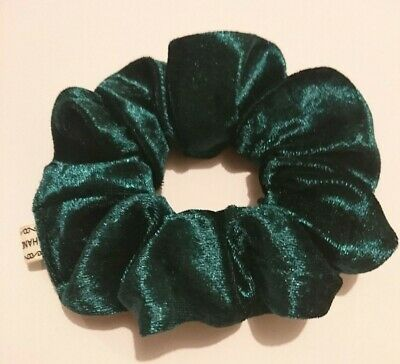 12cm LARGE Bottle green soft velvet wide scrunchie ponytail holder school volumn