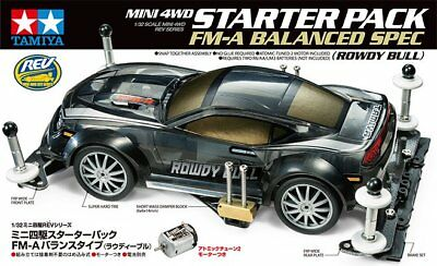 Tamiya 1/32 JR Starter Pack FM-A Balanced Rowdy Bull MINI 4WD 18710 Kit