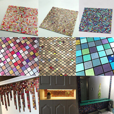 1/4pcs Mosaic Aluminum Tile Self Adhesive Wallpaper Bathroom Backsplash Sticker