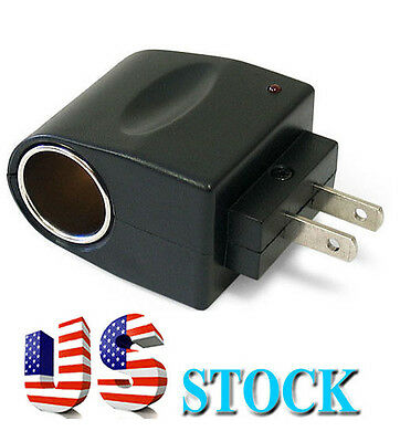 Usa Ac Wall Outlet To 12v Dc Cigarette Lighter Car Socket Adapter Phone Charger