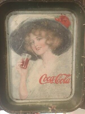 1913 Vintage original COCA COLA TIN Metal ADVERTISING TRAY Hamilton king 1912