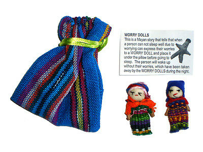 2 x WORRY DOLLS in Textile Bag - Hand made in Guatemala - BLUE Pouch