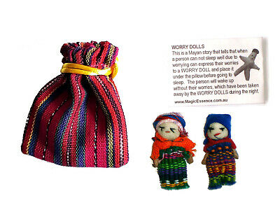 2 x WORRY DOLLS in Textile Bag - Hand made in Guatemala