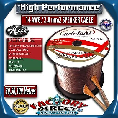 50M High Performance 14AWG 2.0mm2 100% Ultra Pure OFC Audio Cable Speaker Wire