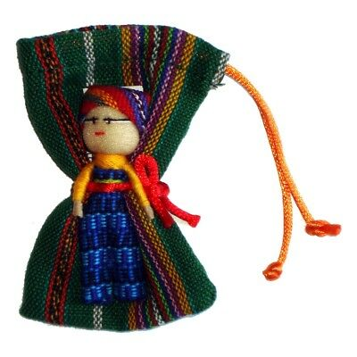 Large WORRY DOLL in Textile Bag - Hand made in Guatemala - BOY - GREEN Pouch