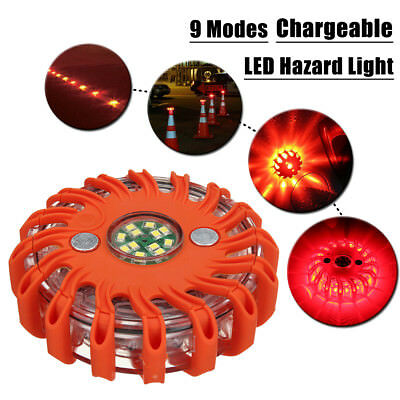Rechargeable 16LED Magnetic Emergency Hazard Warning Safety Road Light 9 in 1