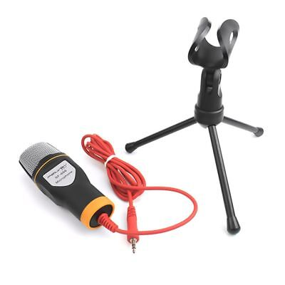 3.5mm Condenser Microphone Studio Recording Webcasting Audio With Stand Tripod A