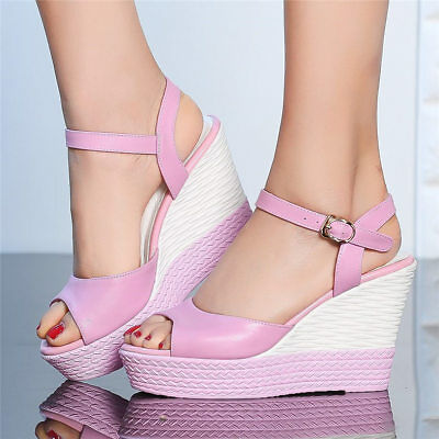 d512ae3c0a3 Platform Wedge High Heels Women Cow Leather Sandals Ankle Strap Open Toe  Pumps