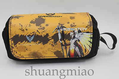 New Overwatch Mercy Anime Pencil Stationery Bag Case Zipper Makeup Cosmetic Bags