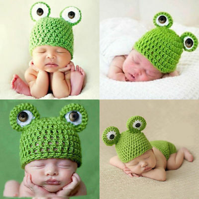 Crochet Prop Frog Kid Baby Infant Knit Photography Beanie Cap Costume Uk Lovely