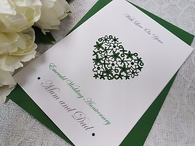 Personalised handmade on our 55th emerald wedding anniversary card