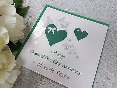 Personalised handmade emerald 55th wedding anniversary card nanny