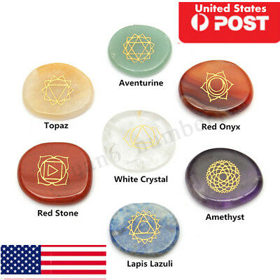 7 Piece Engraved Chakra Stone Palm Stone Crystal Reiki Healing With Pouch USA