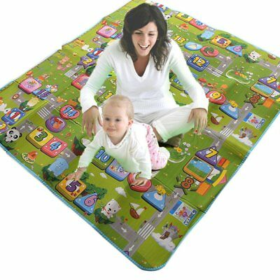 2 Side 200 x 180cm Kids Crawling Educational Game Baby Play Mat Soft Foam Carpet