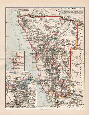 Antique map. GERMAN SOUTH - WEST AFRICA. NAMIBIA. 1905