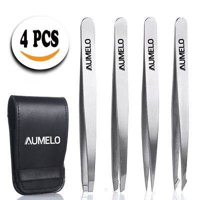 Tweezers Set 4-Piece Professional Stainless Steel with Travel Case by Aumelo