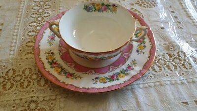 Crown Staffordshire Fine Bone China Scalloped Lyric Tunis soup bowl and saucer