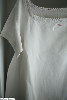 Antique French FLOPPY PURE LINEN NIGHTSHIRT MN mono c1880