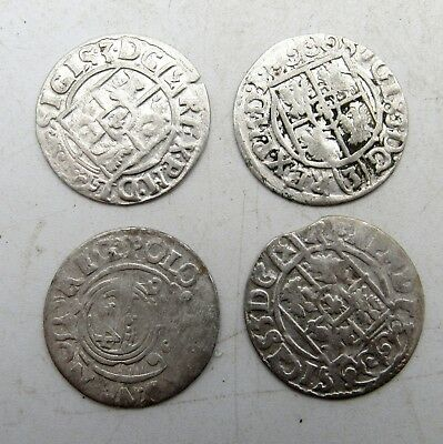 Lot Of 4 Medieval Silver Hammered Coins - Ancient Artifact Stunning - C68